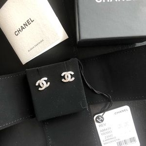 AUTHENTIC CHANEL CC Logo Silver Earrings!!